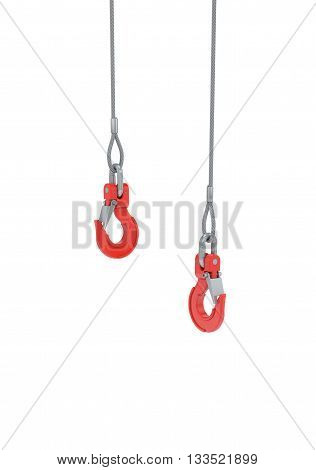 Crane hooks on steel cable isolated on white with clipping path
