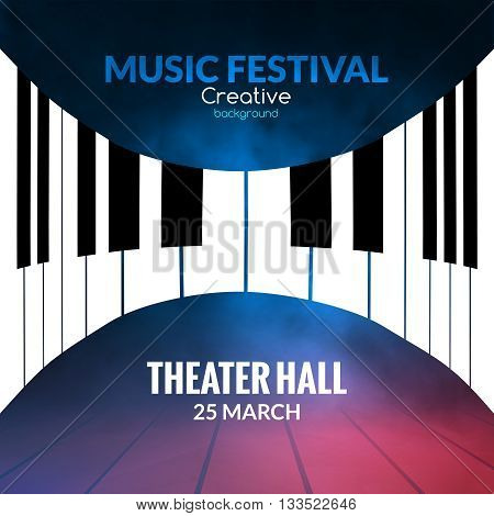 Music festival poster background. Musical jazz concert piano music cafe promotional poster.