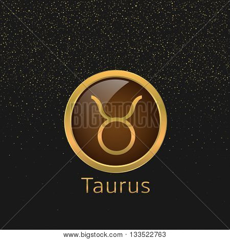 Taurus Zodiac sign. Taurus abstract symbol. Taurus golden icon. Bull symbol. Golden bull sign