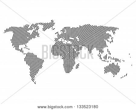 3d abstract world map planet, lines, global radial halftone concept.