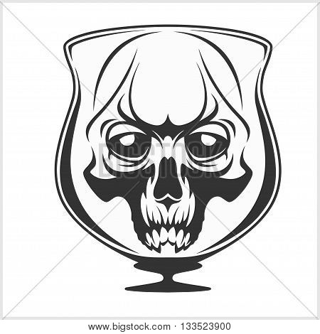 Skull in glass - Alcohol addiction - isolated on white
