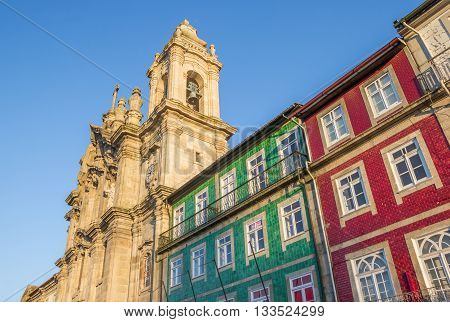 Convento dos Congregados and colorful houses in Braga Portugal poster