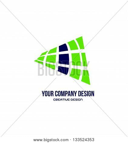 Vector company logo icon element template abstract grid green blue media advertising communication
