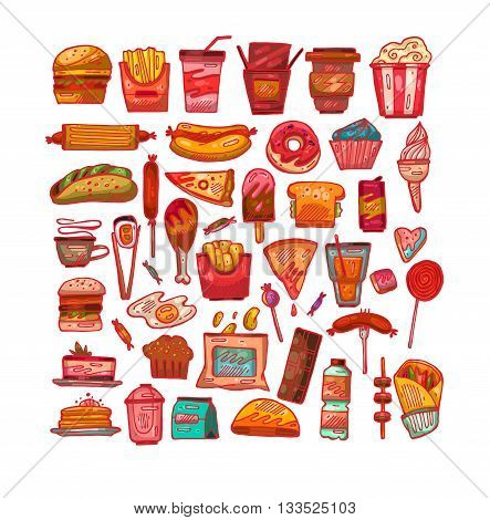 Set with fast food bright colored hand drawn vector illustration icons. Fast food restaurant fast food menu. Hamburger hot dog sandwich snacks waffles pizza french fries ice cream donuts burger sauce lollipops.