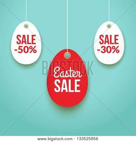 Easter Sale background poster with eggs and discounts percentage.