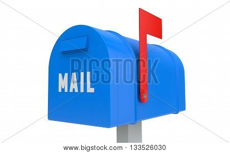 Blue mailbox with red flag up isolated on white with clipping path