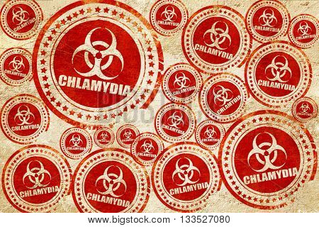 Chlamydia concept background, red stamp on a grunge paper textur