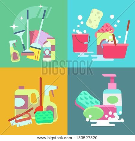 Cleaning service vector concept background set. Sponge and sweep for cleaning, element duster bucket and brush to cleaning illustration