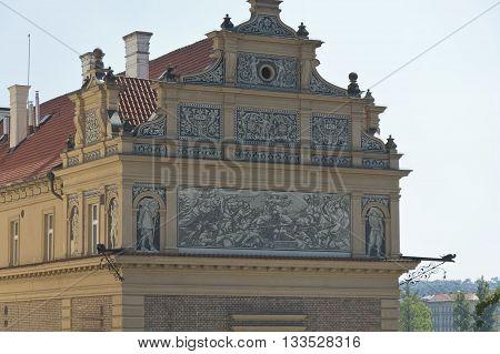 Prague Czech - 03 July 2015: The building of the Museum of famous czech composer Bedrich Smetana