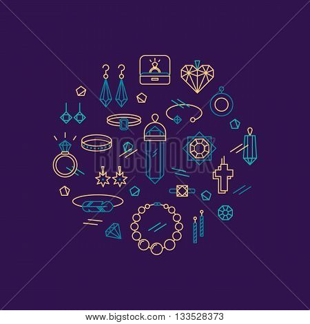Vector concept of jewelry, handmade accessories, fashion. luxury items. Modern thin line style.Trendy hipster backgrounds and logotypes.