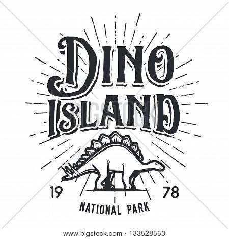 Vector dinosaur island logo concept. Stegosaurus national park insignia design. Jurassic period illustration. Dino Vintage T-shirt badge on white background.