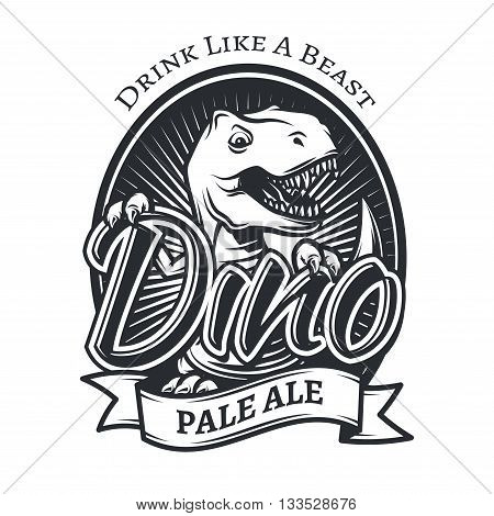 Vector dinosaur craft beer brewery logo concept. T-rex bar insignia design. Pale ale label template. Vintage Jurassic period illustration. Tyrannosaurus T-shirt badge on white background.