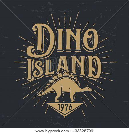Vector dino island logo concept. Stegosaurus national park insignia design. Jurassic period illustration. Dinosaur Vintage T-shirt badge on white background.