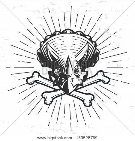 Dino logo template. Dinosaur logotype. Triceratops sport mascot design. Vector bone crest label. Jurassic period sunburst illustration. Fury Dino insignia concept. Ancient world badge.