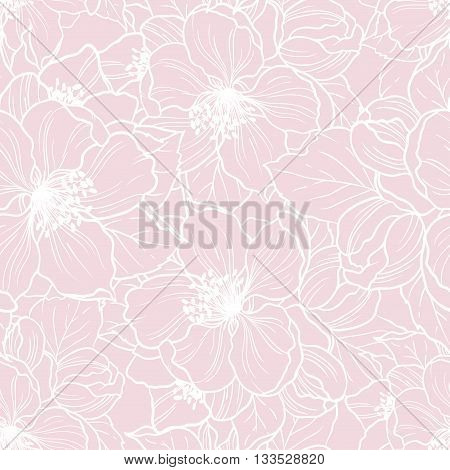 Vector seamless floral pink background. Pattern with cherry blossom