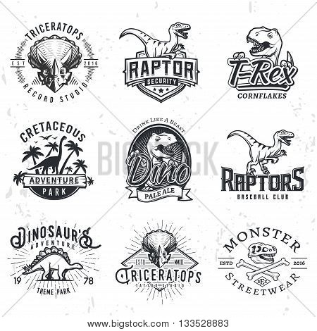 Set of Dino Logos. T-rex skull t-shirt illustration concept on grunge background. Raptors sport team insignia design. Vintage Jurassic Period badge