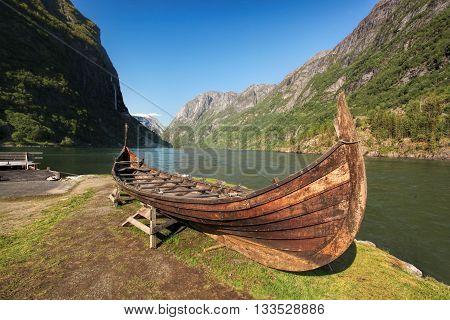 Old Viking Boat In Gudvangen Village Near Flam, Norway
