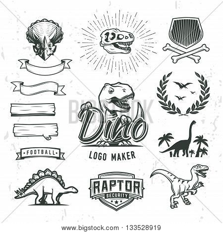 Dino logo maker set. Dinosaur logotype creator. Vector T-rex banner template. Jurassic period laurel crest illustration. Shield insignia concept design. Cretaceous world badge or label collection