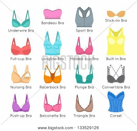 Bra design vector flat colorful icons set. Female underwear styles cartoon collection. Lingerie fashion infographic elements. Woman wardrobe garments. Various clothes symbols isolated on white