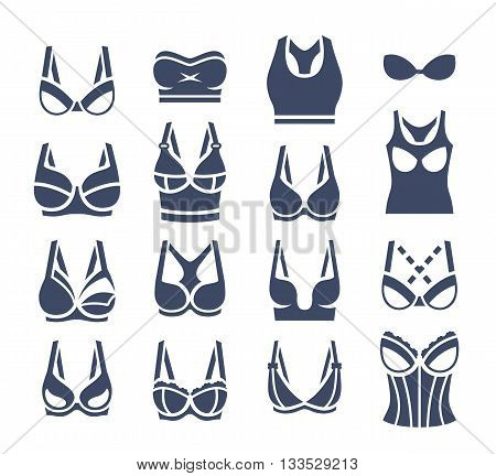 Bra design vector flat silhouettes icons set. Female underwear styles pictogram collection. Lingerie fashion infographic elements. Woman wardrobe garments. Various clothes symbols isolated on white