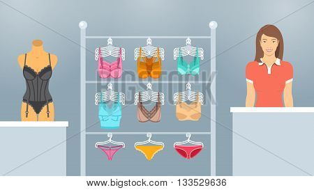 Female underwear store vector flat illustration. Lingerie shop department interior design. Woman seller at a counter bras and panties on hangers a mannequin in a corset. Fashion boutique background