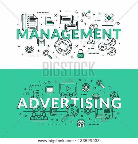 Management And Advertising Related Icons. Colored Flat Vector Illustration In Seagreen And White Col