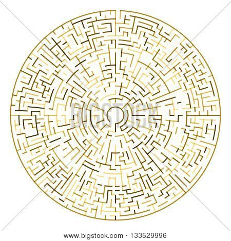 Golden Maze vector illustration. Circle maze template.