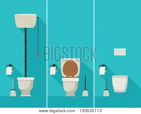 Toilets with long shadow. Vector flat illustration of toilets with toilet paper and brush.