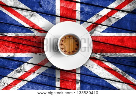 brexit cup of coffee with european union EU flag on grunge wood great britain uk flag vote referendum for united kingdom exit concept