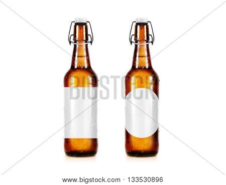 Blank beer bottle mockup without label, stand isolated. Clear alcohol beverage bottle mock up with clipping path. Cold wet beer flask template front view. Brewery bottle label branding. Beer corporate.