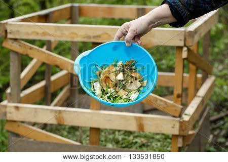 Organic kitchen waste gathered for composting in the garden. Natural gardening waste sorting food wasting concept.