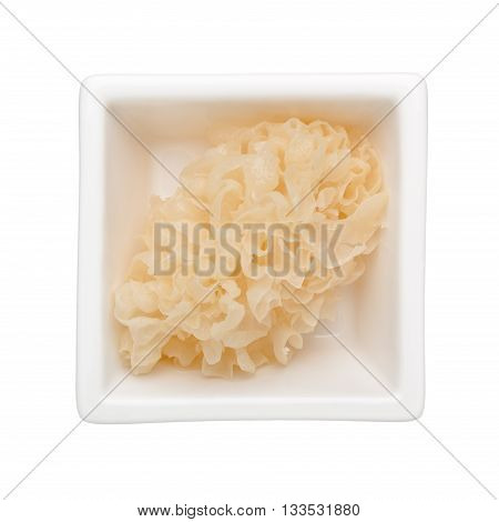 White fungus in a square bowl isolated on white background