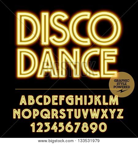 Neon bright set of alphabet letters, numbers and punctuation symbols. Vector light up yellow logotype with text Disco dance