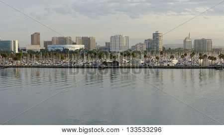 Skyline of Long Beach in Los Angeles County, City in California in the United States, overlooking the marina, in front of the Queensway Bay