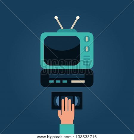 Video Cassette Player with TV. Human Hand with Video Cassette