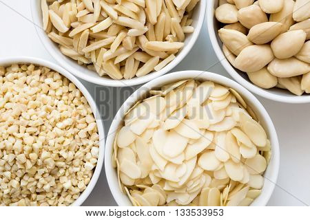 Bowls Of Whole, Flaked, Chopped And Slivered Almonds From Above.
