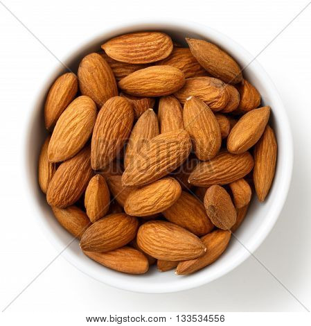 Bowl Of Whole Almonds Isolated On White From Above.