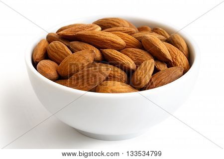 White Bowl Of Whole Almonds On White.