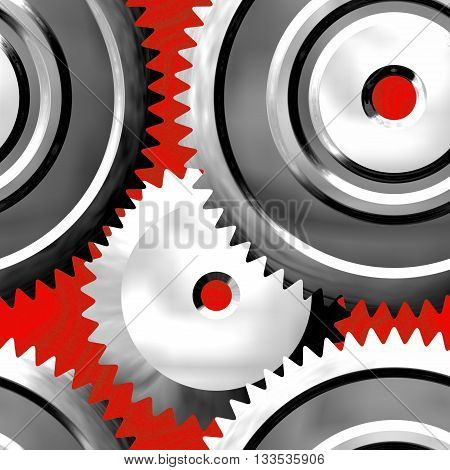 Sprockets on red background - abstract illustration