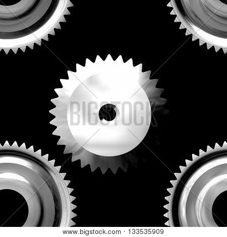 Gray sprockets on dark background - abstract illustration