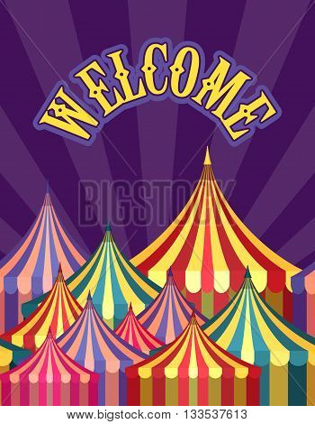vector illustration carnival circus tent poster board bright picture of awnings