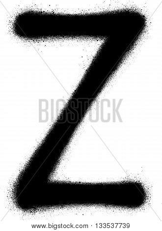 sprayed Z font graffiti in black over white