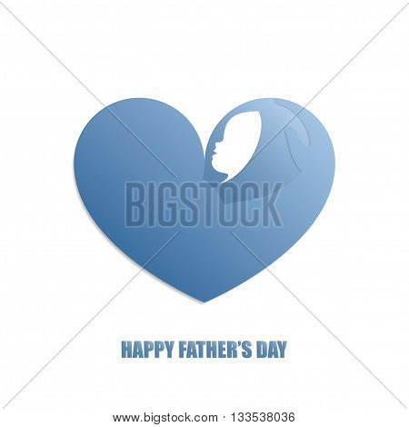 Father's strong arm holding a baby with care in blue heart shaped silhouette on white background for Father's Day celebration.