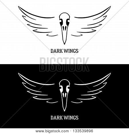 Logo template with raven skull and wings. Design for rock club, biker club, bar, tattoo parlour. Black vector illustration isolated on white