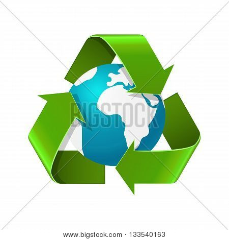 Environment day concept. Realistic vector illustration of Eath globe with recycle sign arrows isolated on white. Eco recycle symbol. World environment day image
