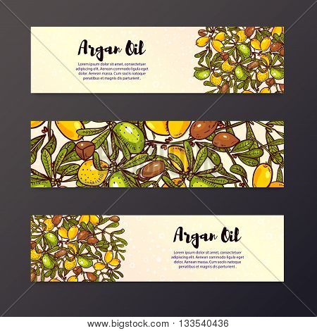 Argan banner in eco-style in natural colors. Argan flyer design layouts. Leaflet for cosmetics medicine ecology bio products.
