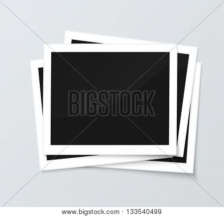 Stack of blank horizontal photo frames from instant camera with shadow isolated on gray background for images. Realistic vector illustration of photo frame with space for images and photos. Photo frame vector