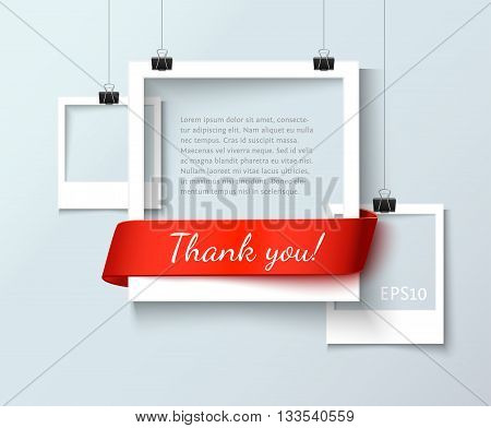 Paper photo frames composition. Vector photo frame template with red ribbon ant text Thank You for web sites and presentation. Photo frames illustration. Art gallary template with photo frame