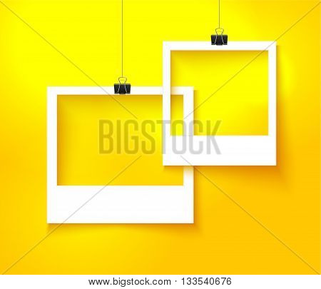 Paper photo frames composition. Vector template with photo frames on bright orange background for summer design. Photo frames realistic vector illustration.