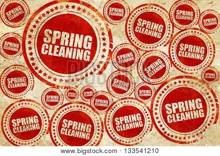 spring cleaning, red stamp on a grunge paper texture